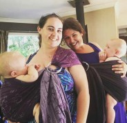 Showing a friend breastfeeding in a ring sling at a BBQ